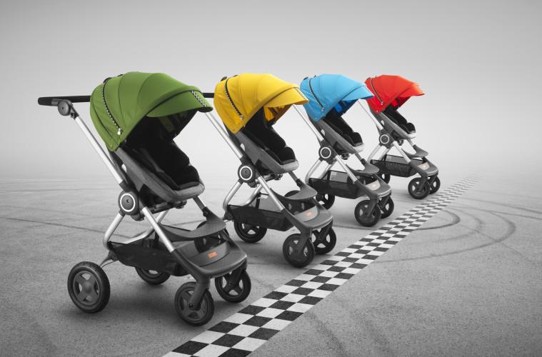 Das neue Racing Style Kit für den Stokke Scoot gibt es in vier verschiedenen Farben.