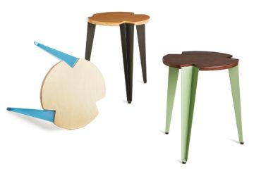 Der stapelbare Dreibein Hocker mit Holzsitz und Stahlblechbeinen ist ein zeitloses Objekt und vielfältig nutzbares Möbel